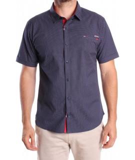 Pánska elastická košeľa s krátkym ruk. vzorovaná GOLD MILANO - tmavomodrá
