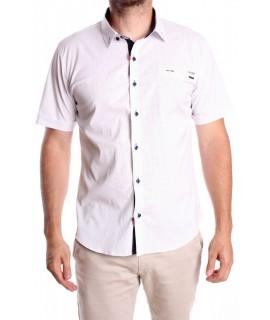 Pánska elastická košeľa s krátkym ruk. vzorovaná GOLD MILANO - biela