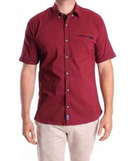 Pánska elastická košeľa s krátkym rukávom RAWLUCCI 1723 - bordová