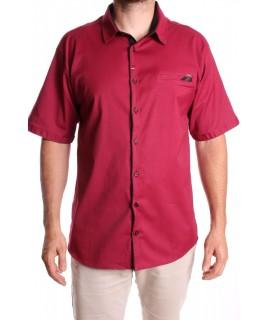 Pánska elastická košeľa s krátkym rukávom RAWLUCCI 1750 - bordová