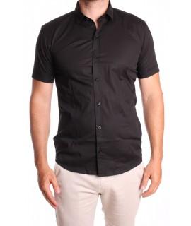 Pánska elastická košeľa s krátkym rukávom GOLD MILANO - čierna
