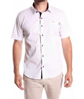 Pánska elastická košeľa s krátkym rukávom GOLD MILANO (0355-K) vzorovaná SLIM FIT - biela
