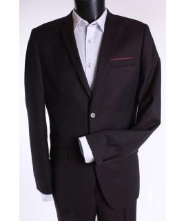 Pánsky oblek BORDO SLIM FIT (v. 176 cm) - čierno-bordový