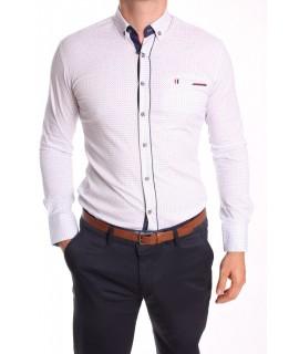 Pánska elastická košeľa vzorovaná ENZO-3158 s tmavomodrým lemom - biela
