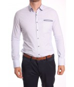 Pánska elastická košeľa vzorovaná ENZO-3160 - biela