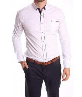 Pánska elastická košeľa vzorovaná ENZO 3158 - biela