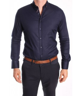 Pánska elastická košeľa ENZO 3163 - tmavomodrá