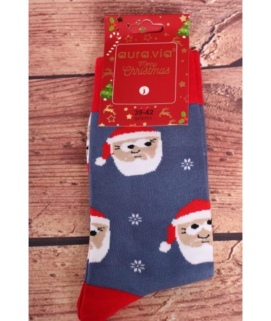 Vianočné bavlnené ponožky (SF6701) - modré - Mikuláš s vločkami