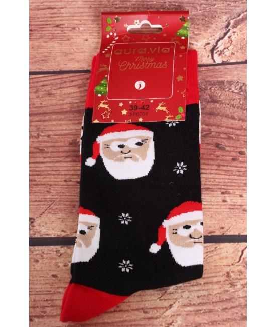 Vianočné bavlnené ponožky (SF6701) - čierne - Mikuláš s vločkami
