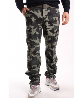 Pánske ARMY maskáčové nohavice s opaskom LOSHAN (H8103-72) - bledozelené