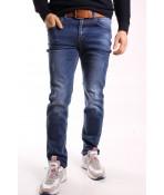 Pánske elastické rifľové nohavice s opaskom M.SARA (KB2501)  -modré