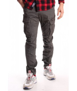 Pánske elastické INDUSTRIAL nohavice s vreckami LOSHAN Vogue (8060-29) - sivé