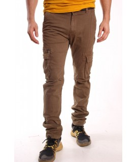 Pánske elastické INDUSTRIAL nohavice s vreckami LOSHAN (H8046-32) - khaki