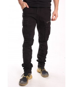 Pánske elastické INDUSTRIAL nohavice s vreckami LOSHAN (8060-26) - čierne