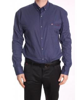 Pánska elastická košeľa vzorovaná ENZO 3212 - tmavomodrá