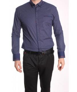 Pánska elastická košeľa vzorovaná ENZO 3164 - tmavomodrá