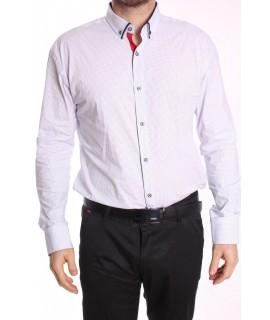 Pánska elastická košeľa vzorovaná ENZO 3205 - biela