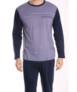 Pánske pyžamo DEVELOP 1875 - sivo-modré