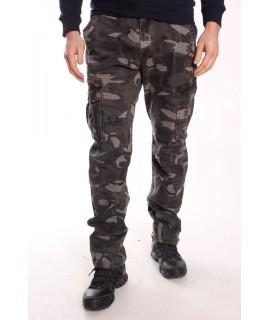 Pánske ARMY maskáčové nohavice s vreckami LOSHAN (8079-54) - sivé