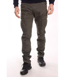 Pánske elastické INDUSTRIAL nohavice s vreckami LOSHAN VOGUE (8060-23) - zelené
