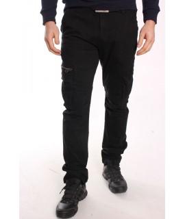 Pánske elastické INDUSTRIAL nohavice s vreckami LOSHAN (H8046-26) - čierne
