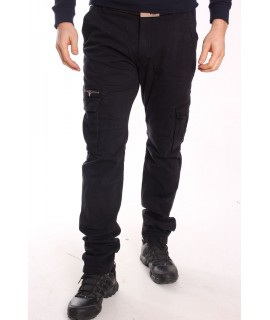 Pánske elastické INDUSTRIAL nohavice s vreckami LOSHAN (H8046-102) - modro-čierne