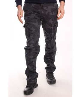 Pánske ARMY maskáčové nohavice s vreckami LOSHAN (8103-85) - MID GREY - sivé