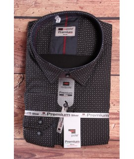 Pánska elastická košeľa PREMIUM SILVER (3032) - čierna vzorovaná