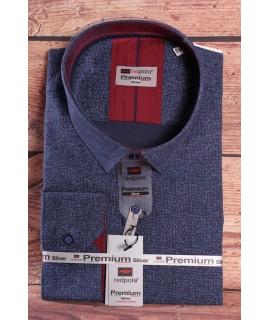 Pánska elastická košeľa PREMIUM SILVER (3153) - modrá vzorovaná
