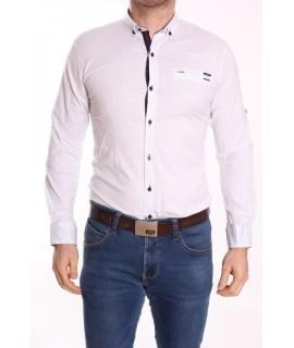 Pánska elastická košeľa GOLD MILANO 0355 - biela vzorovaná