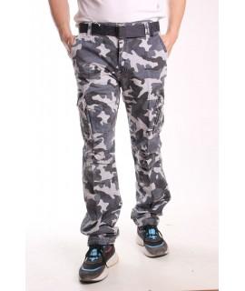 Pánske ARMY maskáčové nohavice s vreckami LOSHAN (8103-74 A) - sivé