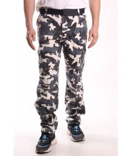 Pánske ARMY maskáčové nohavice s vreckami LOSHAN (8103-39) - béžovo-zelené
