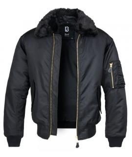 Brandit pánska bunda s kožušinovým golierom - čierna