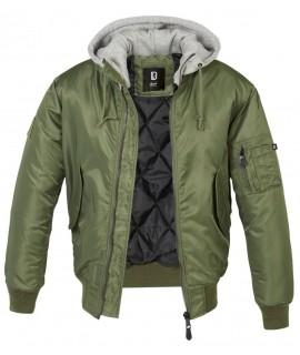 Brandit pánska bunda s teplou podšívkou a kapucňou - olivová+sivá