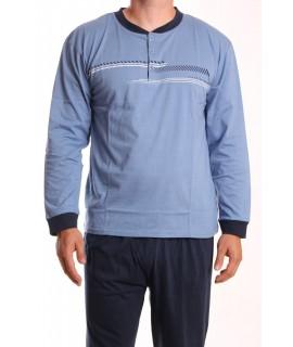 Pánske pyžamo DEVELOP 12127 - rifľovo-modré