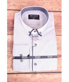 Pánska elastická košeľa vzorovaná ENZO (3159) - biela
