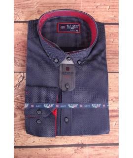 Pánska elastická košeľa vzorovaná ENZO (3161) - tmavomodrá