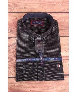 Pánska elastická košeľa vzorovaná ENZO (3158) - čierna