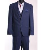 Pánsky oblek FRAPPOLI s vestou (6010) - modrý