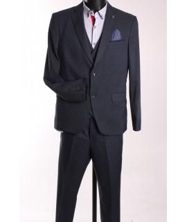 Pánsky oblek FRAPPOLI s vestou (6010) - tmavomodrý