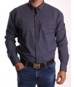 Pánska elastická košeľa vzorovaná ENZO 3422 - tmavomodrá
