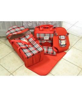Detský set 4-dielny károvaný - červený