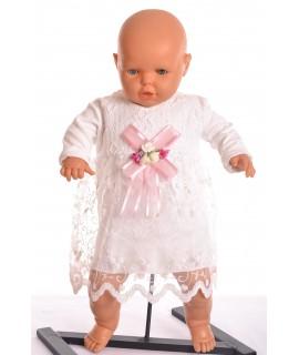 Dievčenské šaty s krajkou a mašľovou ozdobou - krémové
