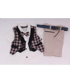 Chlapčenský letný komplet s kockovanou vestou - modrobéžový