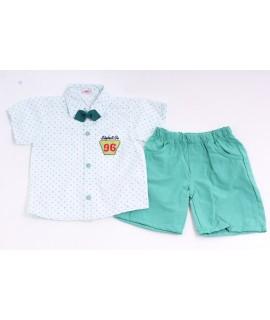 """Chlapčenská letná súprava """"96"""" - zeleno-biela"""
