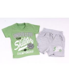 Chlapčenská súprava s krátkymi nohavicami - sivo-zelená