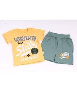 Chlapčenská súprava s krátkymi nohavicami - žlto-zelená
