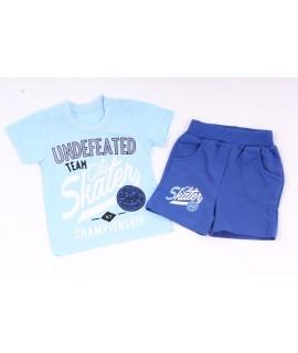 Chlapčenská súprava s krátkymi nohavicami - modrá