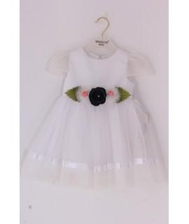 Dievčenské tylové šaty s RUŽAMI - biela