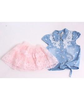 Dievčenský rifľový dvojkomplet s ružovou sukňou